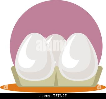 A Egg Tray with three eggs in purple background, vector, color drawing or illustration. - Stock Photo