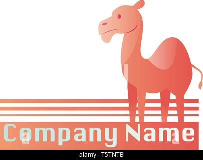 Pink camel with place for a text vector logo design on a white background - Stock Photo