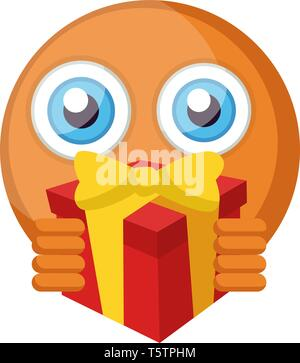 Emoji Holding Present Emoticon With Gift Box 3d Rendering Stock Photo Alamy Box and ribbon color vary across platforms, but commonly depicted as a gold box with a lid wrapped with a red. gift box 3d rendering stock photo alamy