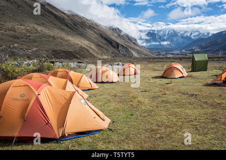 Bivouac in the village of Chozo, Lunana Gewog, Gasa District, Snowman Trek, Bhutan - Stock Photo