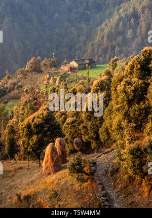 Idyllic rural scene with farmhouse haystacks and wooded mountain slopes in the Himalayan foothills at Gonap in Uttarakhand Binsar area Northern India - Stock Photo