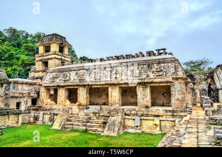 The Palace at the Maya Archeological Site in Palenque, Mexico - Stock Photo