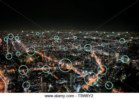 Network connection with neon light circle and Empty inside for any corporate logos or icon., in high building background at night. - Stock Photo