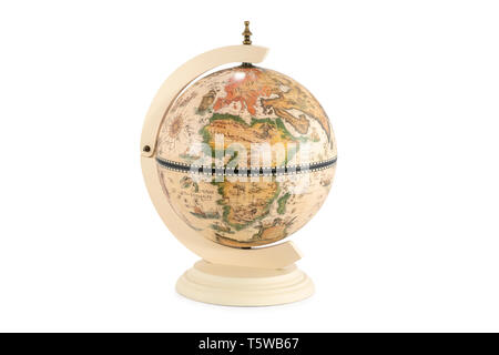 old vintage globe with africa in the foreground isolated on white background - Stock Photo