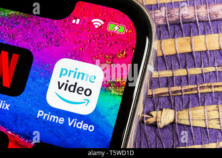 Helsinki, Finland, February 17, 2019: Amazon Prime Video application icon on Apple iPhone X screen close-up. Amazon PrimeVideo app icon. Amazon Prime  - Stock Photo