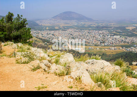5 May 2018 A view of Mount Tabor in Israel from the mount Precipice. tradition has this as the place where an angry mob would have cast Jesus Christ o - Stock Photo