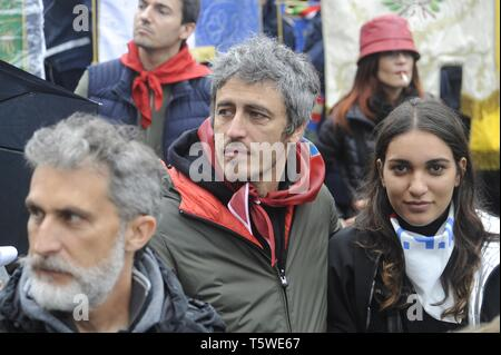 Milan, demonstration of 25 April 2019, anniversary of the Liberation of Italy from Nazifascism. Pierfrancesco Diliberto, known as Pif, television writer, screenwriter, director, writer and actor. Stock Photo