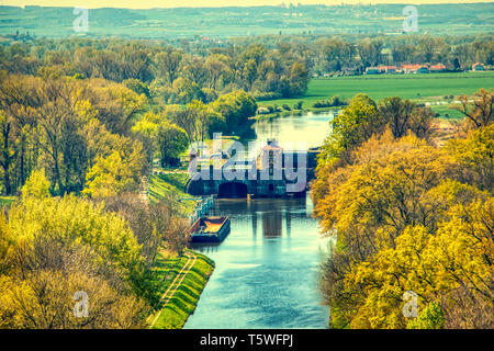 vltava flood protection dam in melnik aerial summer - Stock Photo