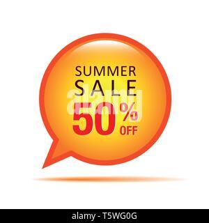 summer sale speach bubble 50 percent off vector illustration EPS10 - Stock Photo