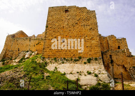 View of Ajloun Castle in north-western Jordan. Important fort for Arab and crusaders. - Stock Photo