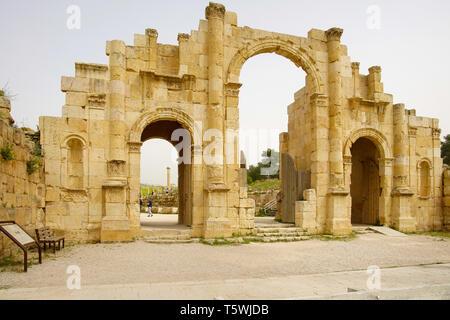 Jerash; South Gate; AD 130, Jerash archeological site, Jordan. - Stock Photo