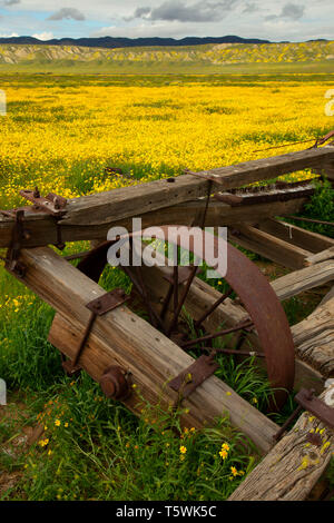 Rustic ranching equipment, Carrizo Plain National Monument, California - Stock Photo