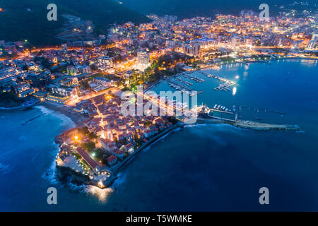 aerial view of the Old Town Budva at night - Stock Photo