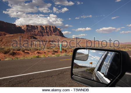 View of the Vermilion Cliffs, near Marble Canyon, Arizona, on Route 89A, view in car mirror - Stock Photo