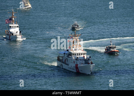 The Coast Guard Fast Response Cutter Benjamin Bottoms arrives in San Diego April 26, 2019. The Bottoms is scheduled to be commissioned during a ceremony at Sector San Diego next week. (Coast Guard photo by Petty Officer 1st Class Patrick Kelley/released) - Stock Photo
