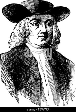 William Penn 1644 to 1718 he was an English real estate entrepreneur philosopher and founder of the province of Pennsylvania vintage line drawing or e - Stock Photo