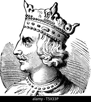 Henry I of England, c. 1068-1135, he was the king of England from 1100 to 1135 and Duke of Normandy, vintage line drawing or engraving illustration - Stock Photo