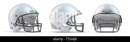 Set of white  american football helmets isolated on white background. 3d illustration - Stock Photo