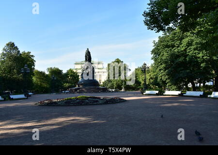 Ostrovsky square Catherine the Great monument. Alexander's Theater. St.Petersburg Russia - Stock Photo