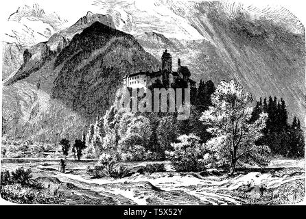 Castle of Hohenaschau is the dominating feature in the town of Aschau im Chiemgau in Bavaria, vintage line drawing or engraving illustration. - Stock Photo