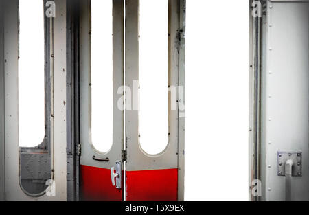 old tram open doors interior isolated white background - visit city with public transport concept - Stock Photo