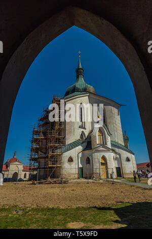 Zdar nad Sazavou, Czech Republic - April 19 2019: Pilgrimage Church of St John of Nepomuk at Zelena Hora, bright sunny day, clear blue sky. - Stock Photo