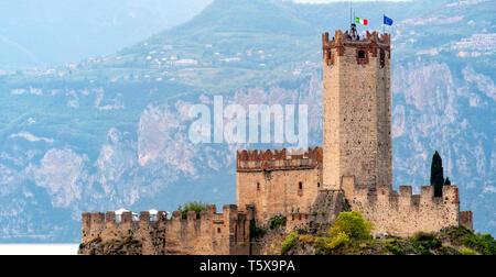 Malcesine Castle of Castello Scaligero on the Lago di Garda lake in Italy Verona province Veneto region - Stock Photo