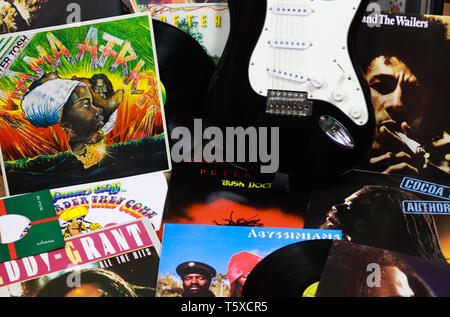 VIERSEN, GERMANY - MARCH 10. 2019: View on collection of reggae vinyl records - Stock Photo