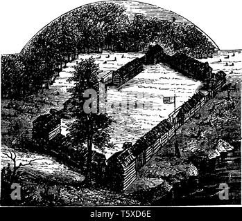 Boone's Fort built by Daniel Boone,an American pioneer, explorer, woodsman, and frontiersman,vintage line drawing or engraving illustration - Stock Photo