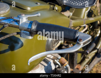 Nelzha, Russia - August 27, 2018: Clutch handle BMW R75 motorcycle - Stock Photo