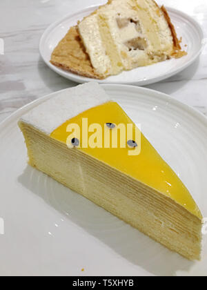 Chess cake mango green tea cream chocolate - Stock Photo