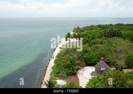 The view from the Cape Florida Light, a lighthouse on Cape Florida at the south end of Key Biscayne in Miami-Dade County, Florida, USA. - Stock Photo