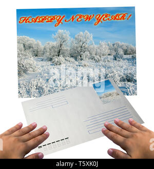Boy read letter from Santa Klaus . Happy New Year 2009 ! - Stock Photo