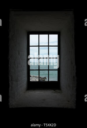 The view from a window in the Cape Florida Light, a lighthouse on Cape Florida at the south end of Key Biscayne in Miami-Dade County, Florida, USA. - Stock Photo