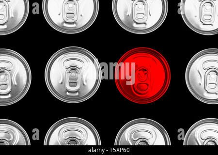 Close up photo of aluminium one red can in a raw. Aluminium can background. Can Pattern. Aluminium beverage cans. Drink can. Metal containers for pack - Stock Photo