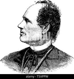 Josip Juraj Strossmayer 1815 to 1905 he was a Croatian politician Roman catholic bishop and benefactor vintage line drawing or engraving illustration - Stock Photo