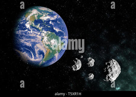 Earth in the scape with meteorite stones and light - Stock Photo