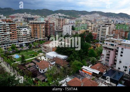 View over Tirana Albanias Capital City Albania - Stock Photo