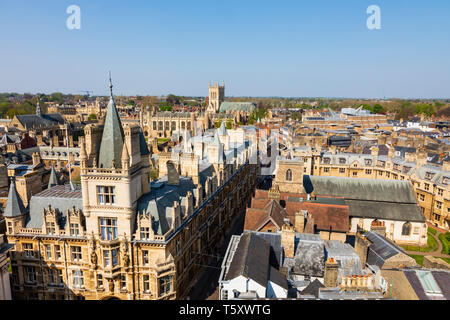Gonville and Caius college seen from St Marys church tower, University town of Cambridge, Cambridgeshire, England - Stock Photo