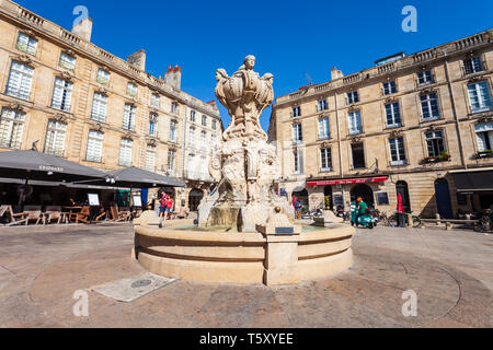 BORDEAUX, FRANCE - SEPTEMBER 17, 2018: Parliament Square in the centre of Bordeaux city in France - Stock Photo