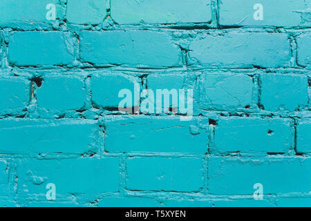 Turquoise brick wall for background or texture. - Stock Photo