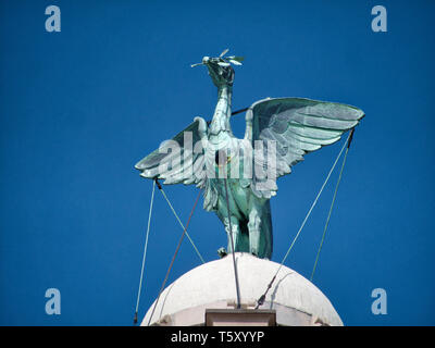 A liver Bird on the Royal Liver Building, one of the Three Graces on Liverpool's historic, UNESCO World Heritage waterfront - Stock Photo