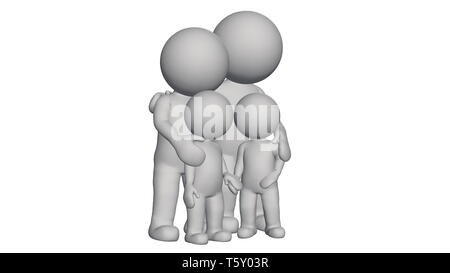 3d people - small family - isolated on white background - Stock Photo