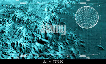 Satellite view of land, war operations, sci-fi, night vision with blue hues. Military target. Drone flying over an area. Hud, head-up display - Stock Photo