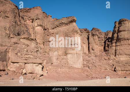 the solomons pillars in timna national park in israel near Eilat - Stock Photo