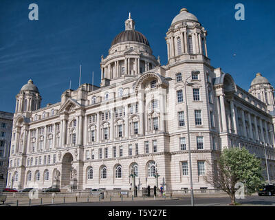 The Port of Liverpool Building, one of the Three Graces on Liverpool's historic, UNESCO World Heritage waterfront - Stock Photo