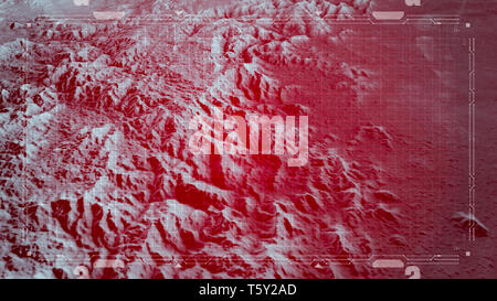 Satellite view of land, war operations, sci-fi, night vision with red hues. Military target. Drone flying over an area. Hud, head-up display - Stock Photo