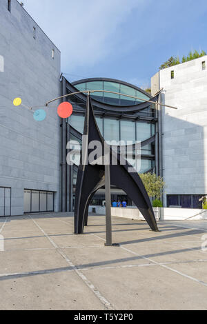 NICE, FRANCE - 06 JULY, 2015: Art installation and facade of Museum of Modern and Contemporary Art (MAMAC), major cultural and touristic landmark in N - Stock Photo