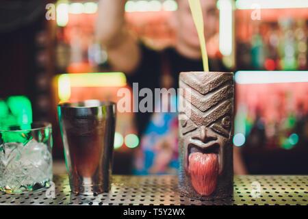 Ufa, Russia, HARAT'S PUB, 15 November, 2018: Tiki Drink Cocktails. Tropical tiki cocktails on the bar. - Stock Photo