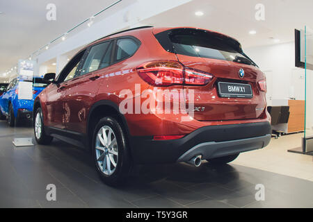 Ufa, Russia, 12 December, 2018: BMW X1 Superfast sports car presented. - Stock Photo